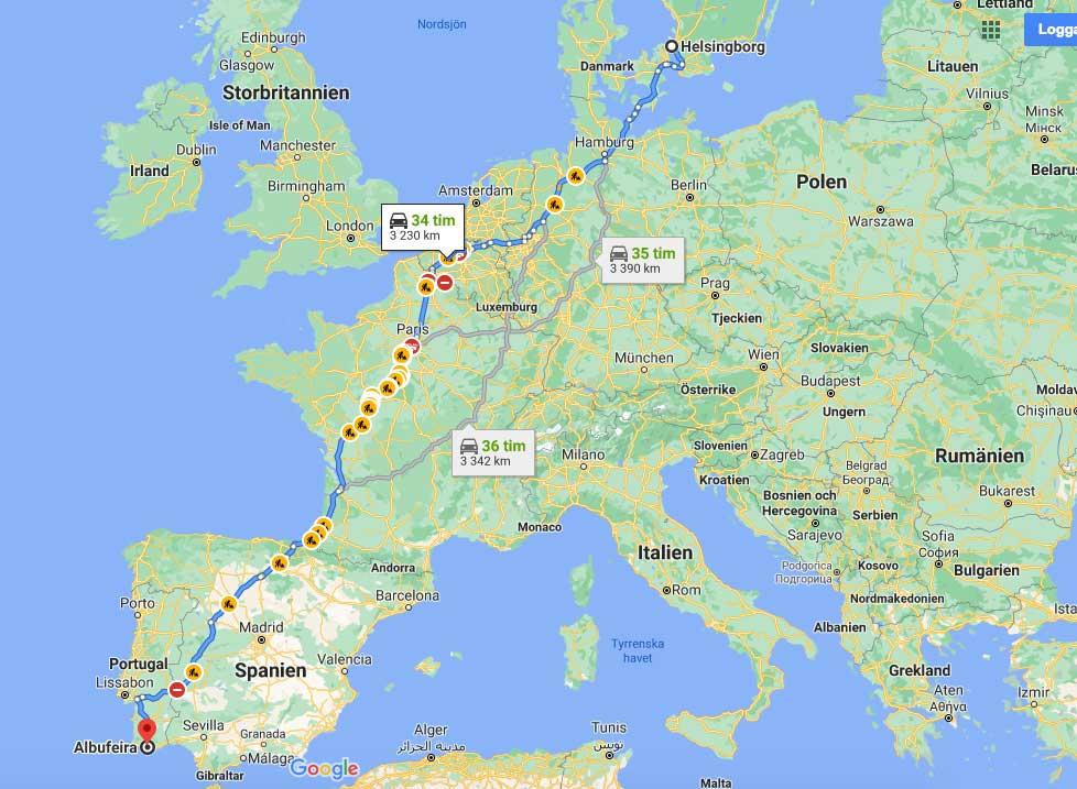köra bil till Portugal från Sverige